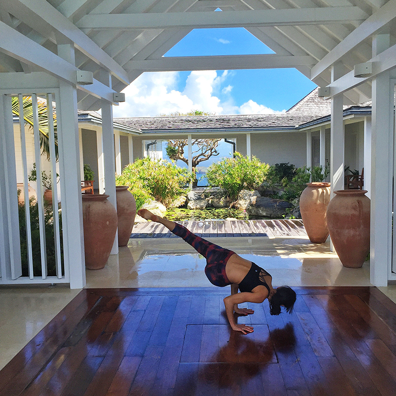 Waking at 7am to this serenity called for early morning yoga.  Side crow supported by MPS Sport active wear.