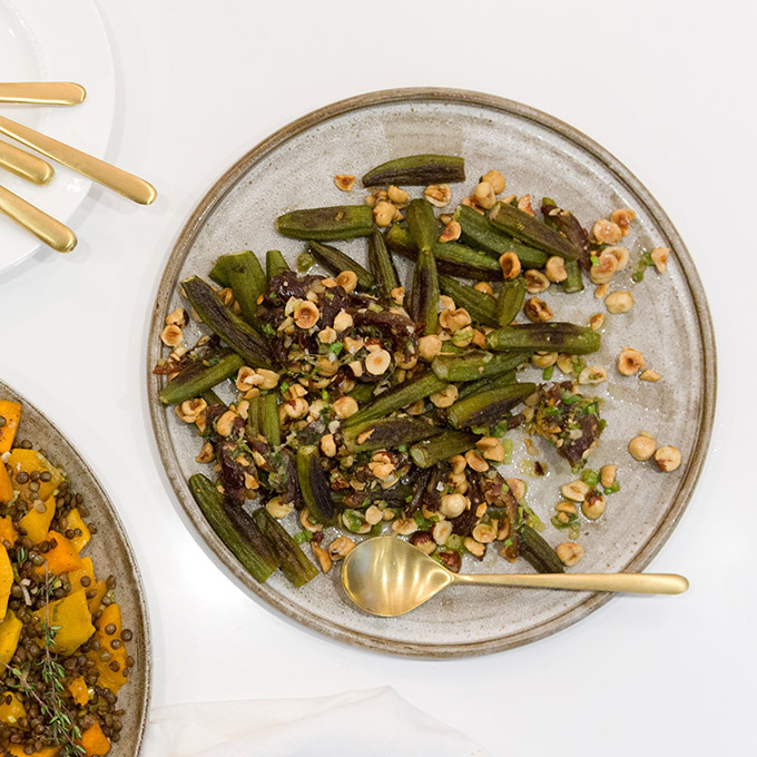Okra with Hazelnuts and Dates
