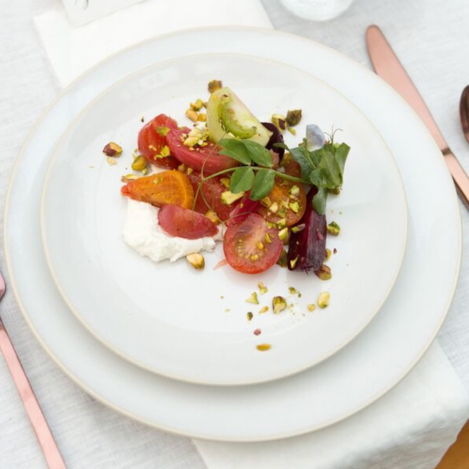 Beet, tomato + citrus salad with whipped feta + pistachios
