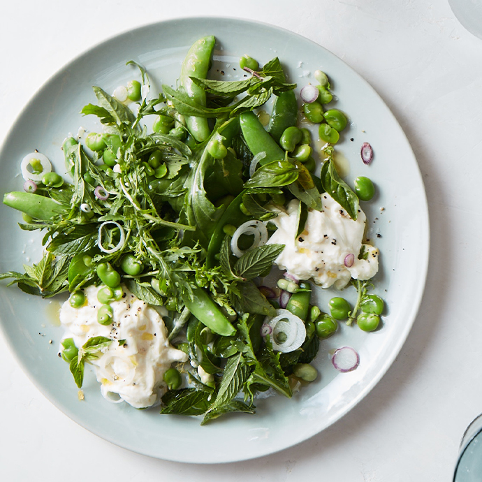 Sugar Snap Pea and Fava Salad with Buffalo Mozzarella