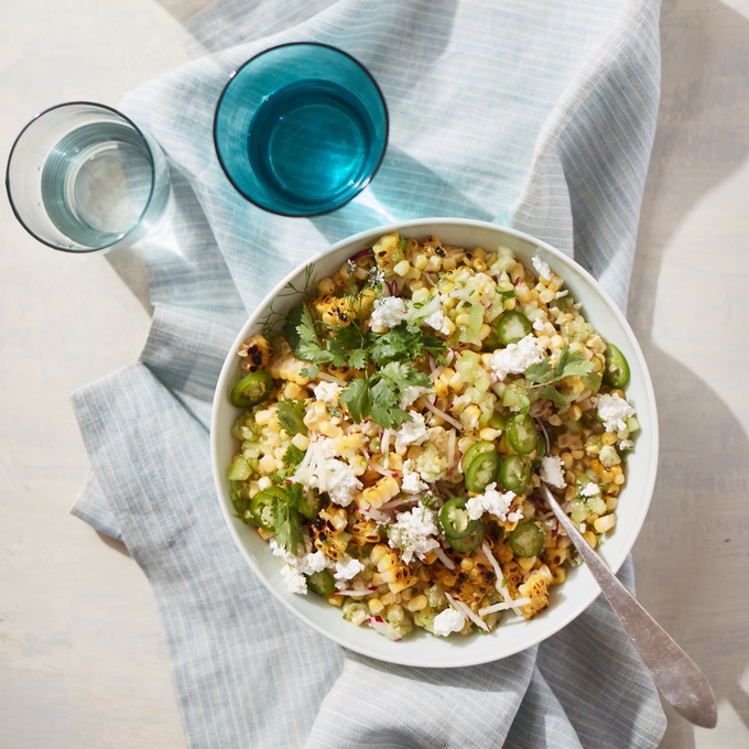 Charred and Raw Corn Salad with Tomatillo Relish