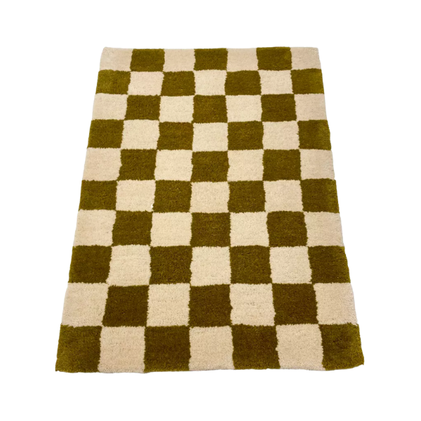 Relic Home Olive and Cream Checkered Rug