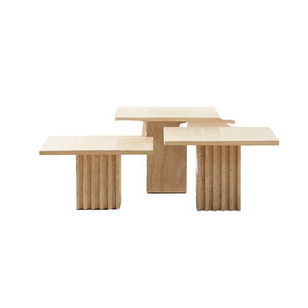 CB2 CARVE TRAVERTINE SMALL COCKTAIL TABLE