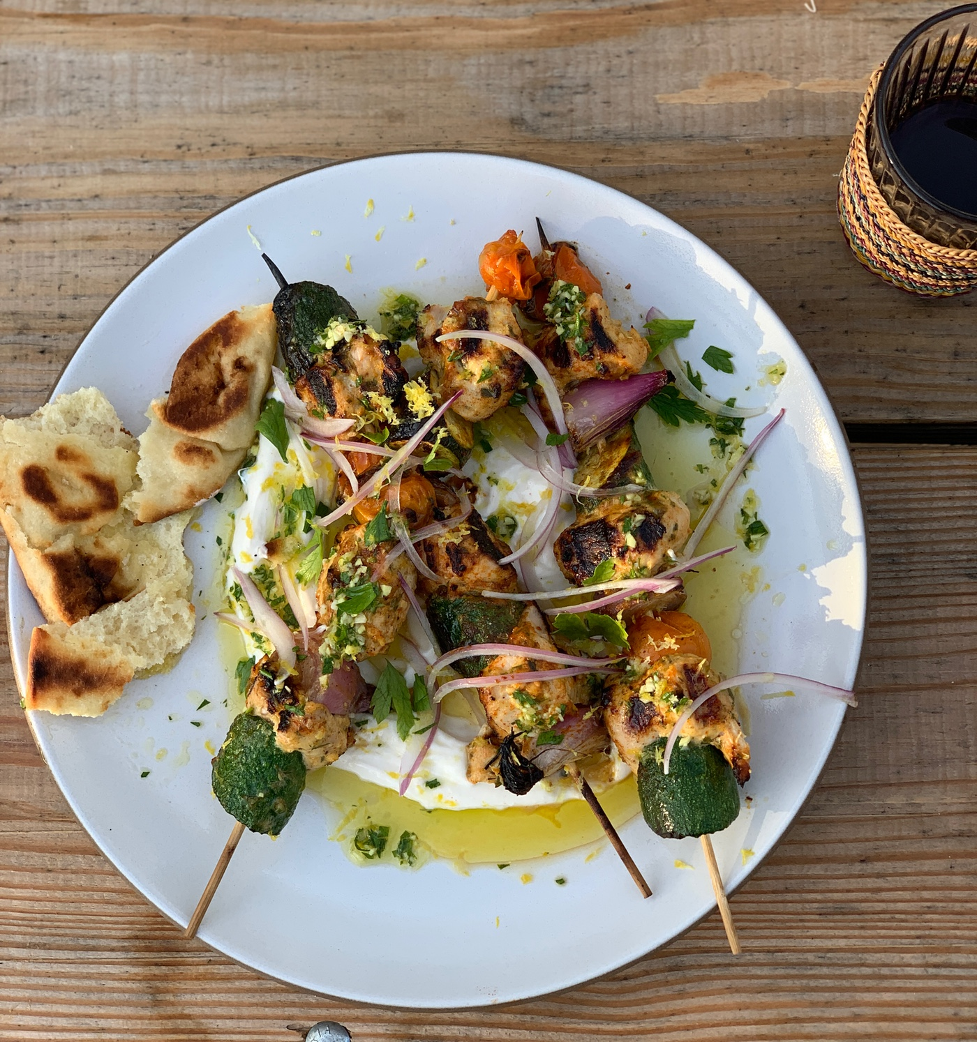 Yogurt Marinated Chicken Skewers with Herbed Dressing