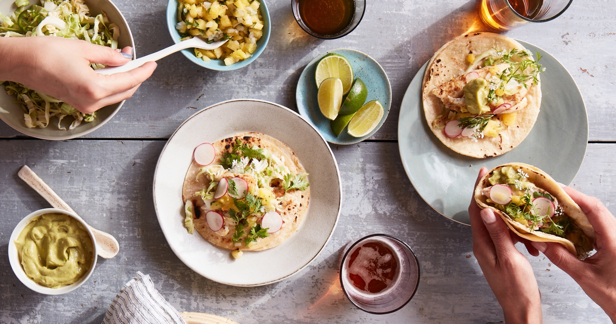 Fish Tacos with Pickled Cabbage & Pineapple Salsa