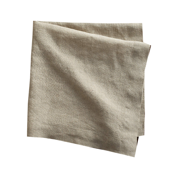 Crate & Barrel Helena Dark Natural Linen Dinner Napkin in Dark Natural