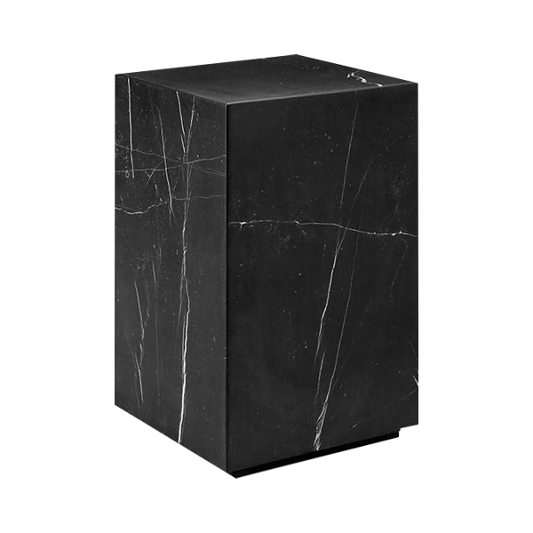 Nero Marquina Black Marble Pedestal Side Table