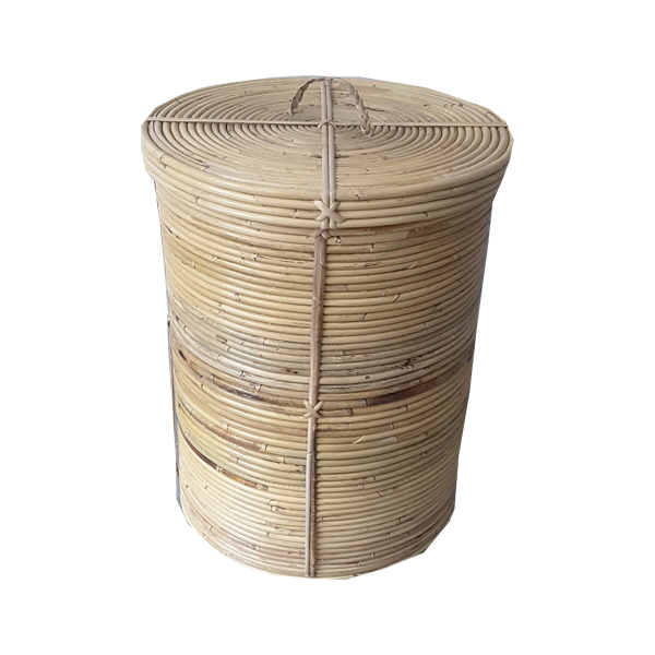 Natural Rattan Laundry Hamper with Lid and Handle