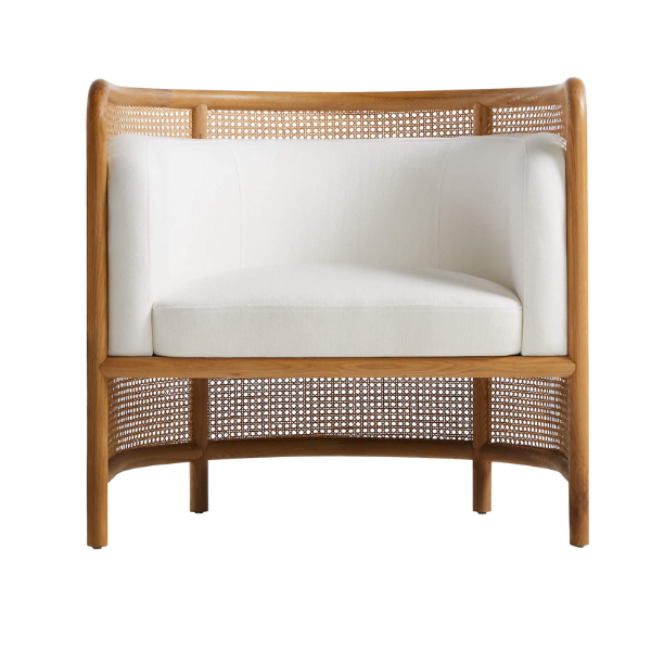 Crate & Barrel Fields Cane Back White Accent Chair
