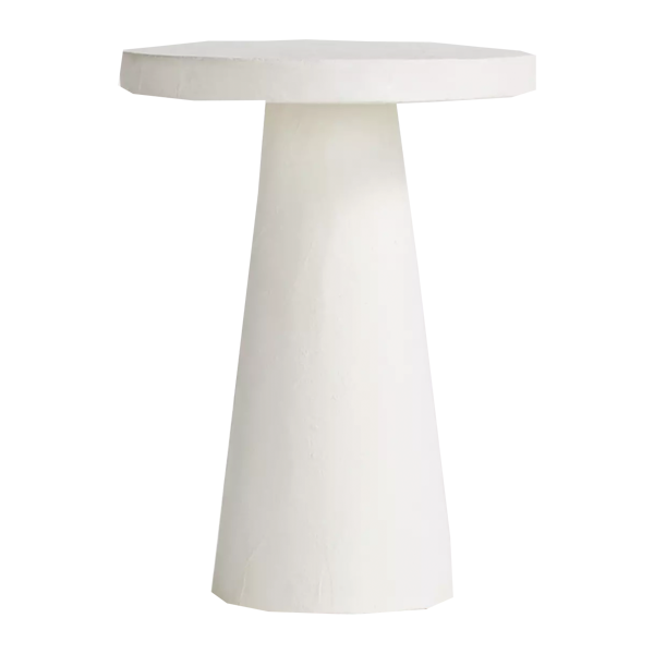 Crate & Barrel Willy White Plaster Pedestal Side Table